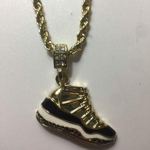 Gold Chain with Nike Air Jordan Retro 11 Pendent